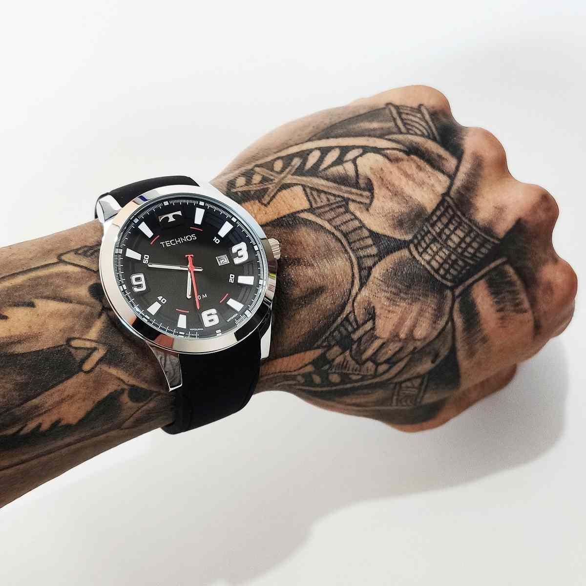 Relógio Technos Performance Racer Masculino Prateado Pulseira De Silicone 2115MXS/2P