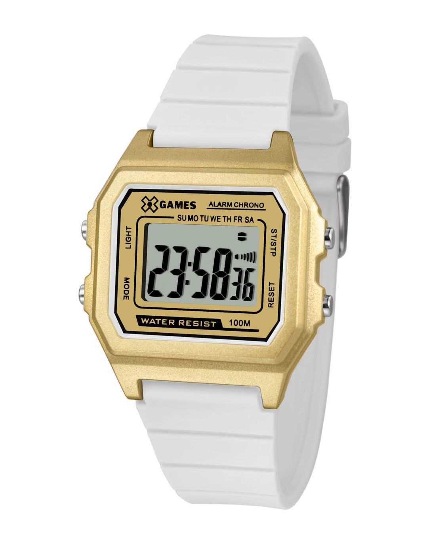 Relógio Xgame Feminino Digital Dourado Pulseira Silicone Branca XLPPD032 BXBX