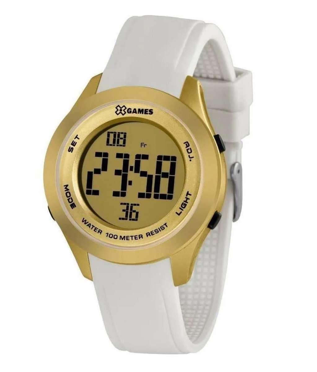 Relógio Xgame Feminino Digital Dourado Pulseira Silicone Branca XMPPD598 CXBX