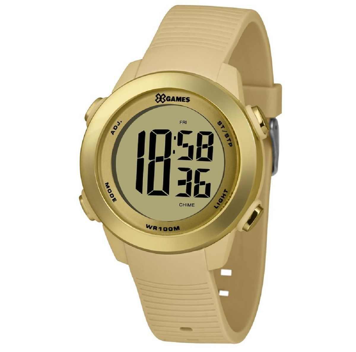 Relógio Xgame Feminino Digital Dourado Pulseira Silicone Creme XMPPD599 CXTX