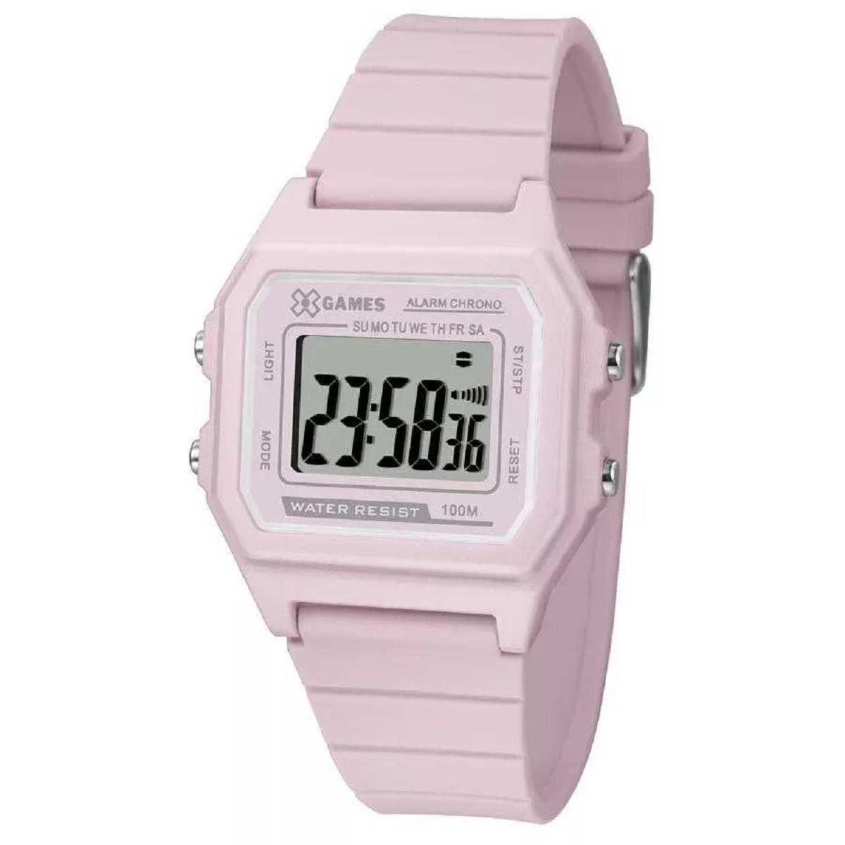 Relógio Xgame Feminino Digital Pulseira Silicone Rosa XLPPD026 BXRX