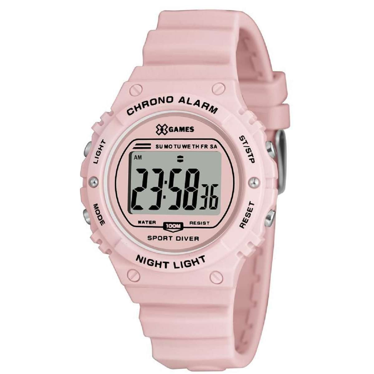 Relógio Xgame Feminino Digital Rosa Pulseira Silicone XFPPD056 BXRX