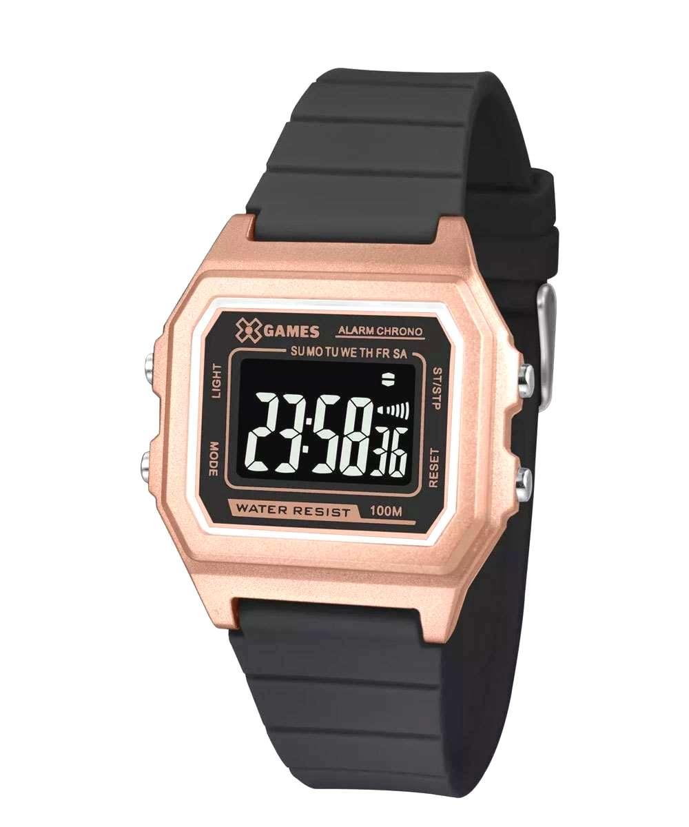 Relógio Xgame Feminino Digital Rose Pulseira Silicone Preta XLPPD031 PXPX