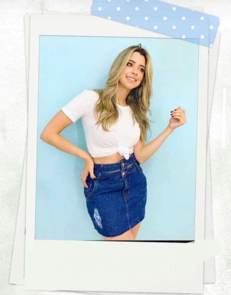 Saia Jeans Feminina Cós Duplo Com Zíper e Botão