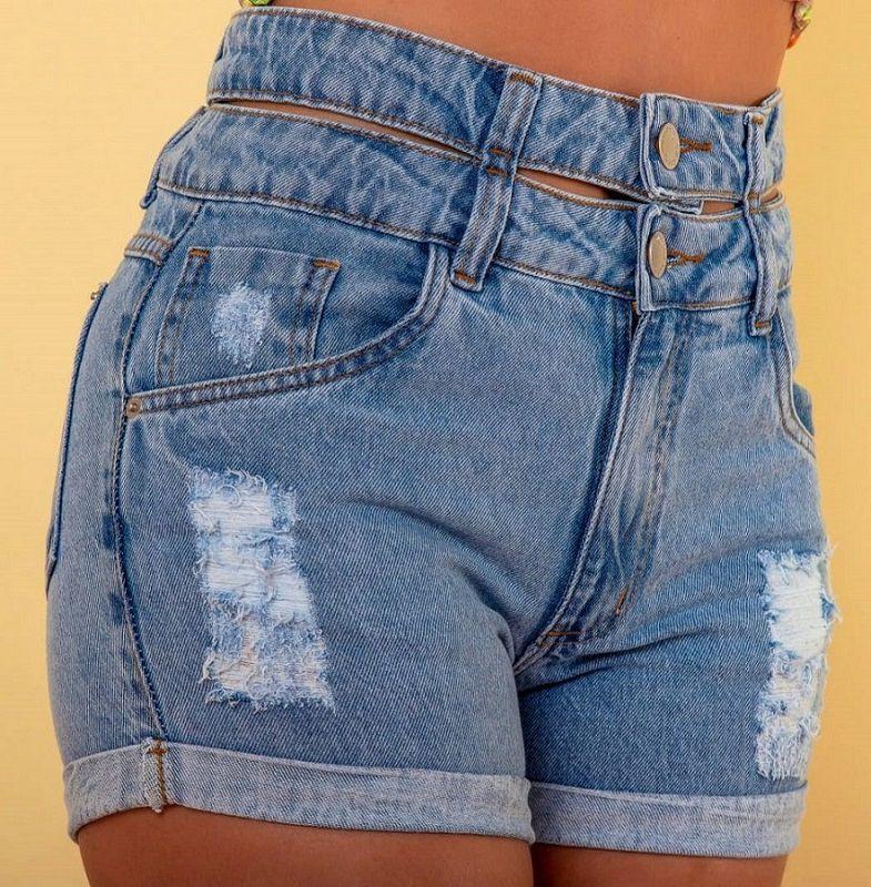 Shorts Jeans Feminino Cós Duplo Com Botão Cintura Alta