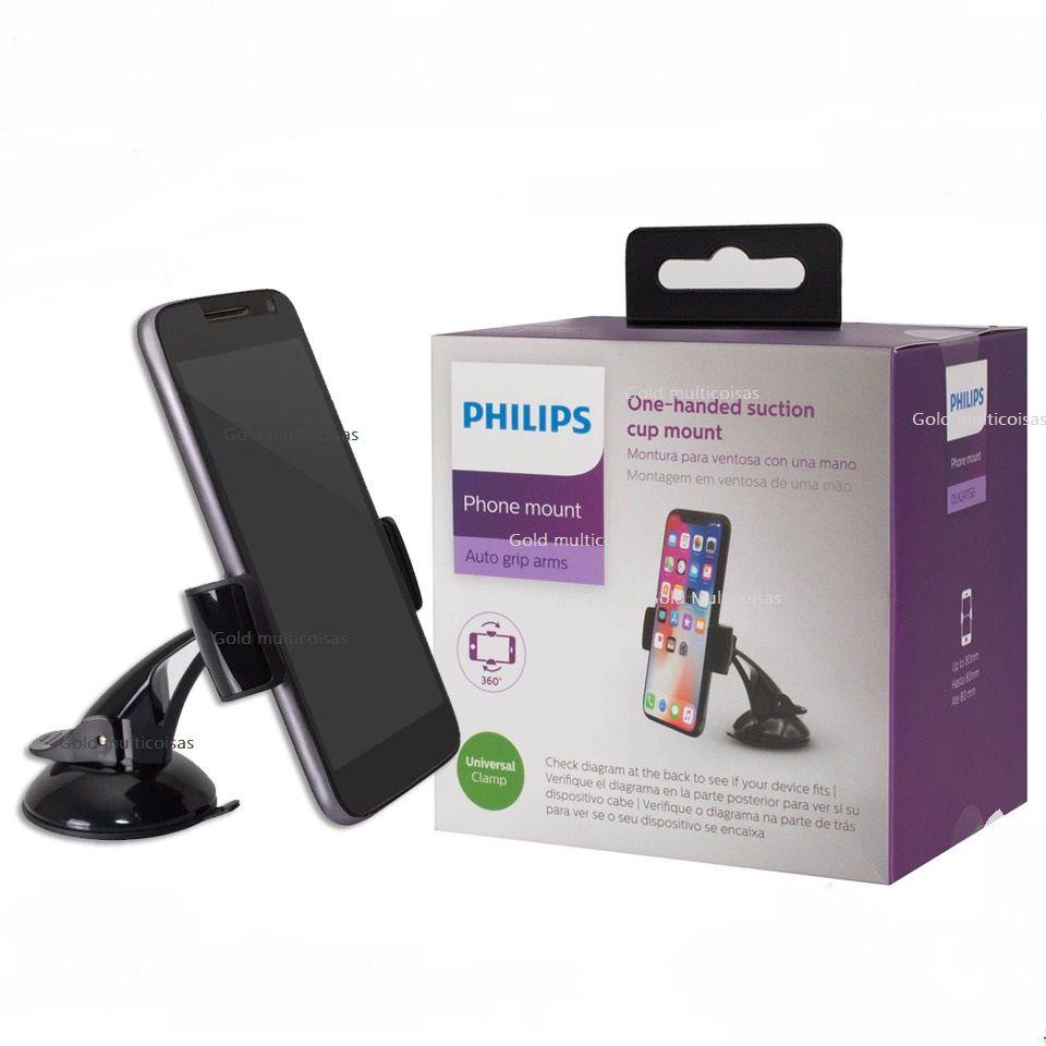 Suporte De celular Gps Veicular C/Ventosa Base Giratória Philips Dlk2411Sb/97