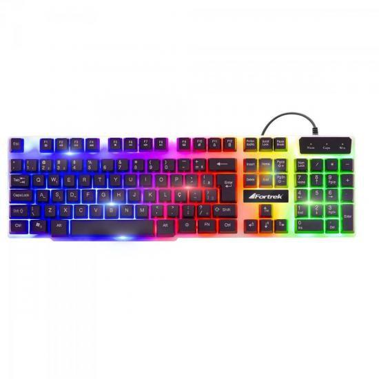 Teclado Gamer Semi-mecânico  Multimidia Chromatic GK-710 LED Colorido Fortrek