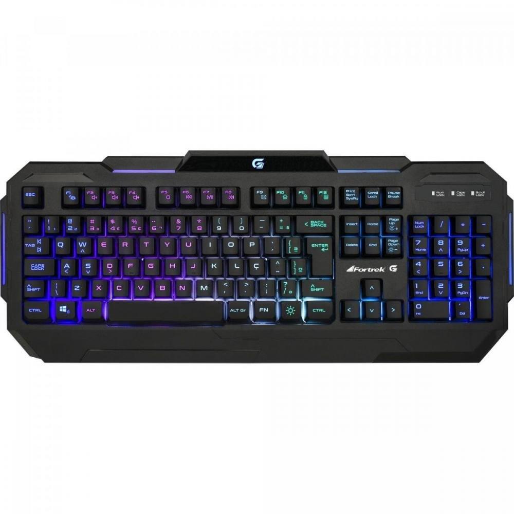 Teclado Gamer Pro K1 RGB Preto Usb ABNT2 Fortrek