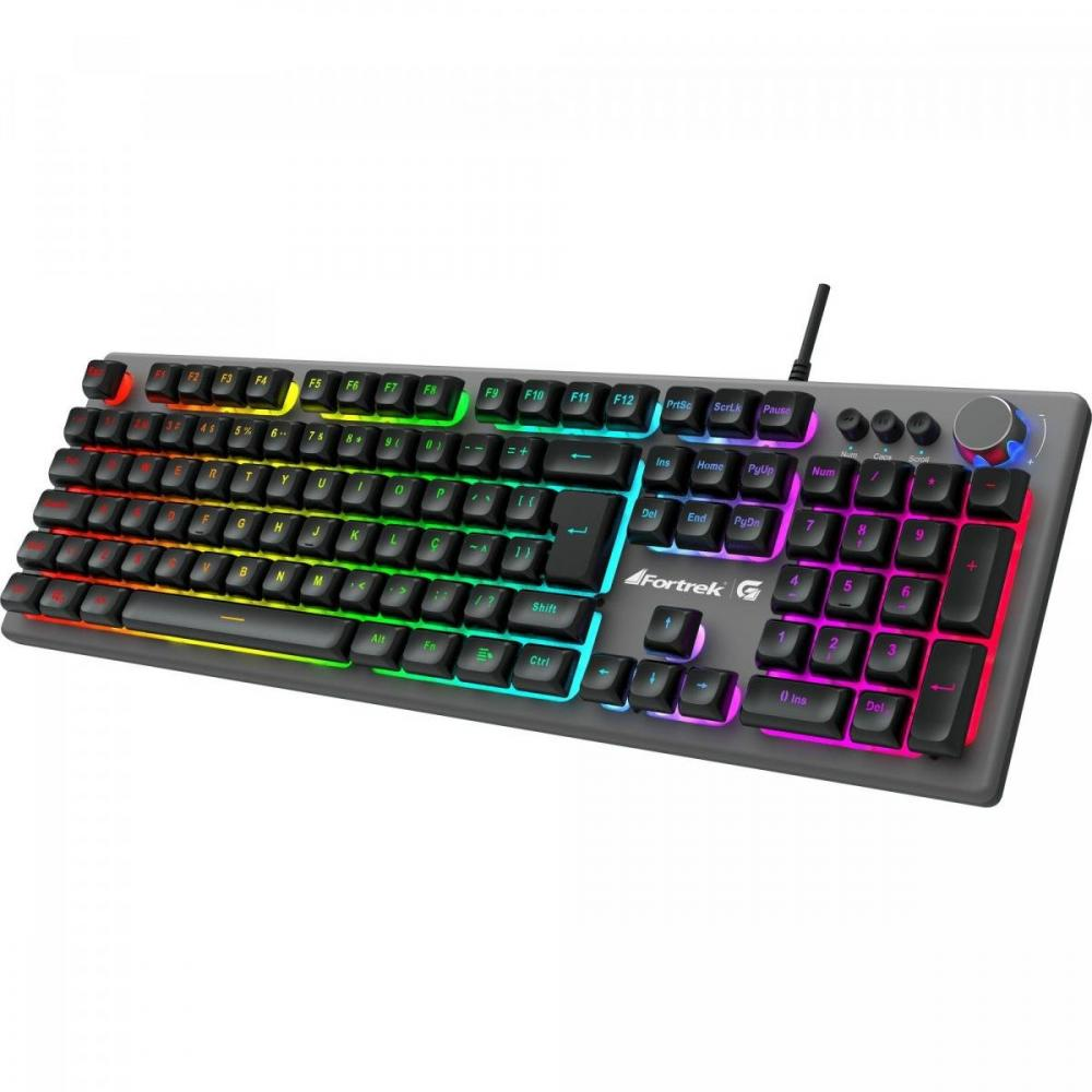 Teclado Gamer Semi-mecânico RGB Rainbow HOLT Grafite Fortrek ABNT2