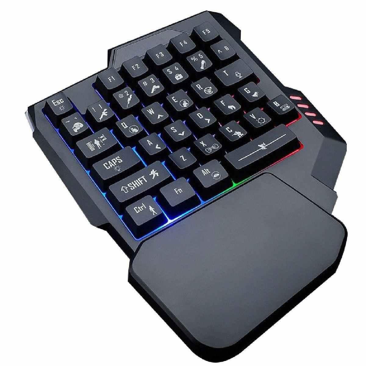 Teclado Gamer Uma Mão 35 Teclas Com Led RGB