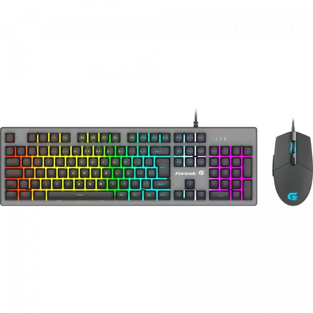 Teclado + Mouse 6400 Dpi Gamer RGB Rainbow Ranger Grafite Fortrek  Abnt2