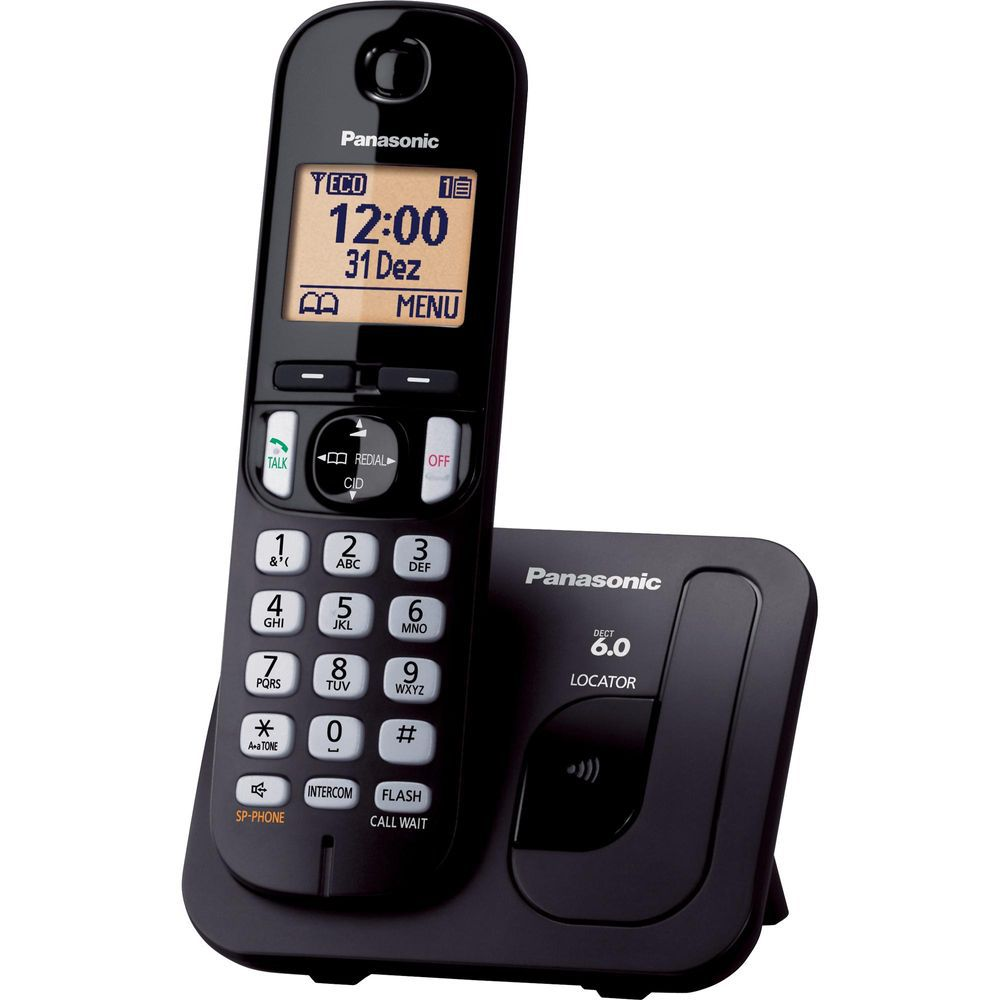 Telefone S/Fio C/ID Chamadas Viva Voz KX-TGC210LBB Preto PANASONIC