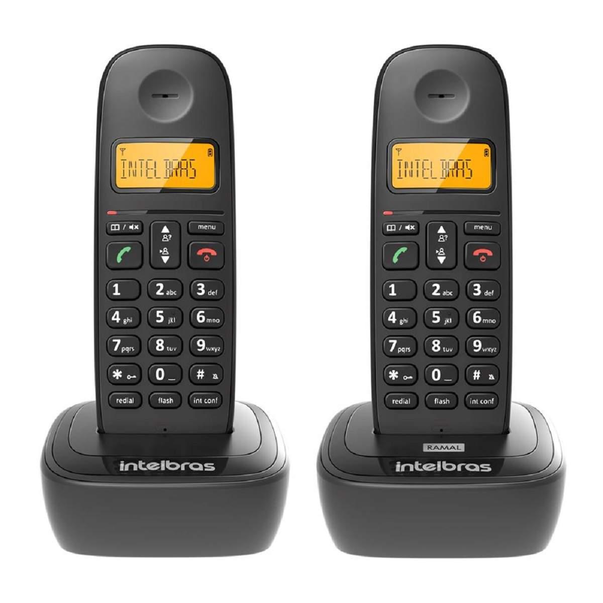 Telefone Sem Fio Com 1 Ramal Intelbras TS 2512 - Id Chamada Preto Bivolt