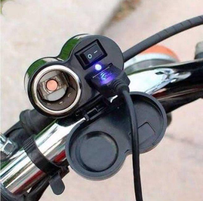 Tomada Para Moto Usb 5v E 12v Carrega Celular Gps Carregador