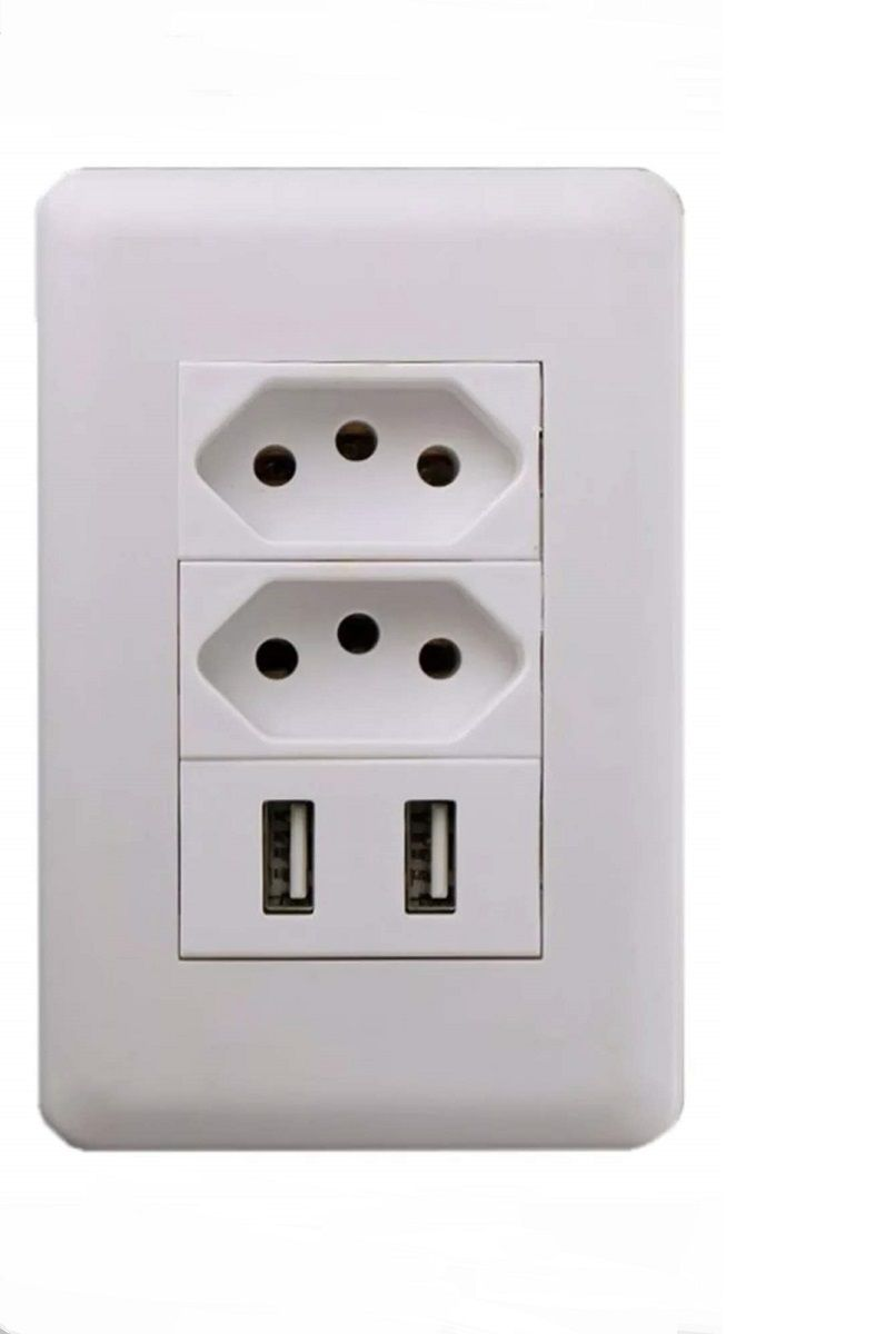 Tomada USB Carregador 2 USB e 2 Tomadas Eletricas  Branco