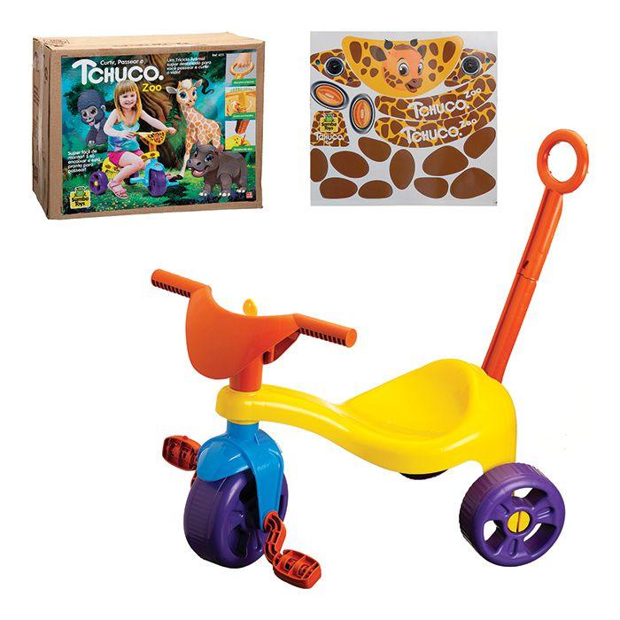 Triciclo Motoca Infantil Tchuco Zoo Com Haste Samba Toys