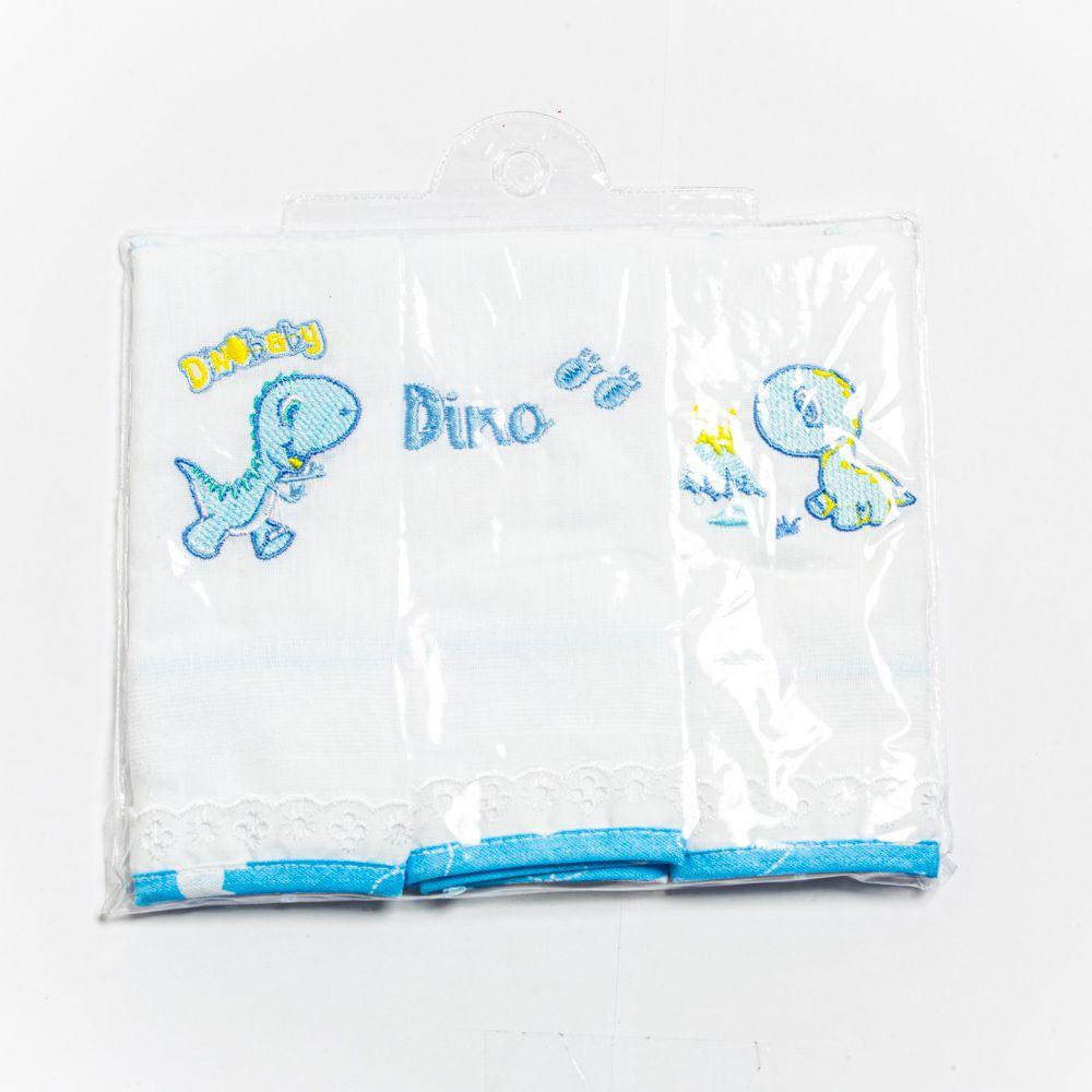 Babete Para Bebê Bordado Dino Menino Com 3 Unidades Minasrey