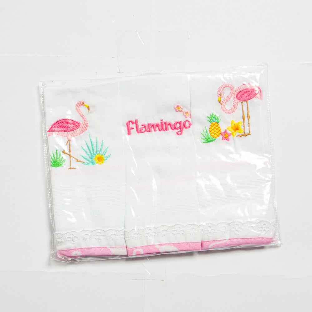 Babete Para Bebê Bordado Flamingo Kit Com 3 Unidades Minasrey
