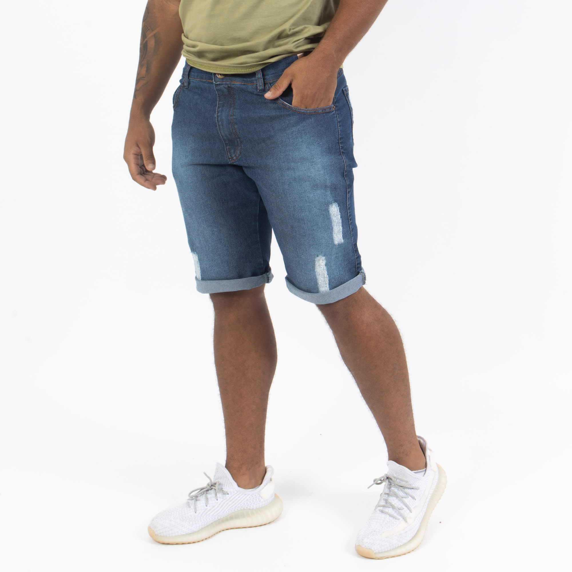 Bermuda jeans com Destroyd -Oslen