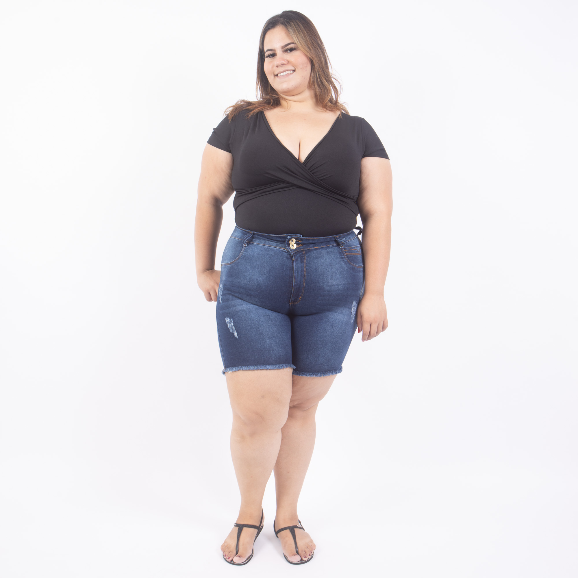 Bermuda Jeans Plus Size Barra Desfiada