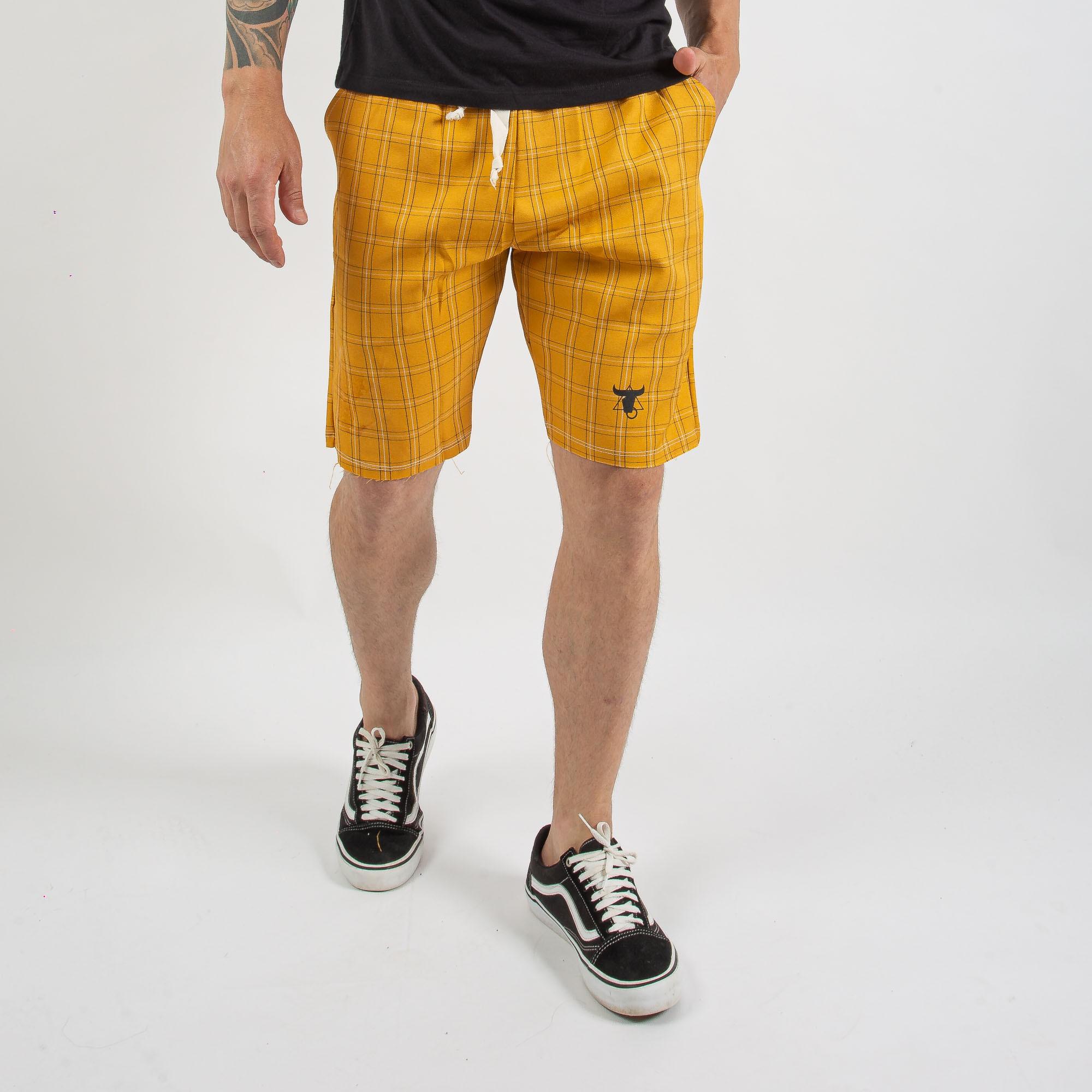 Bermuda Masculina Amarelo Xadrez Com Cordão