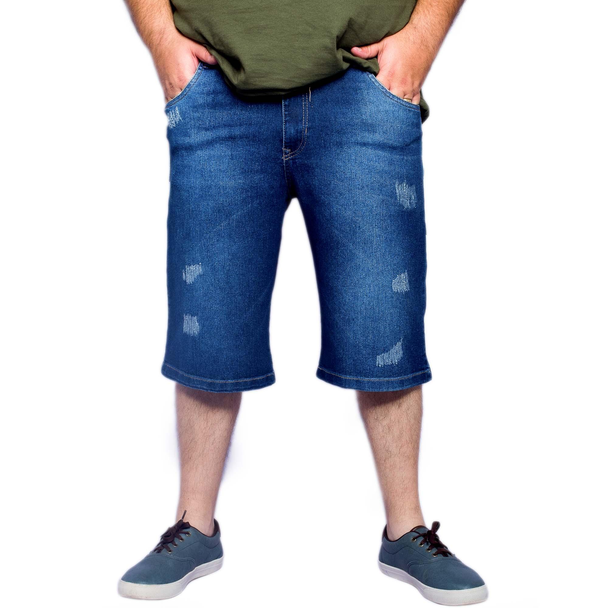 Bermuda Masculina Jeans Plus Size Com Cordão Na Cintura - Gangster