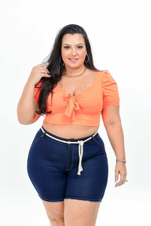 Bermuda Plus Size Jeans Escuro Com Cordão