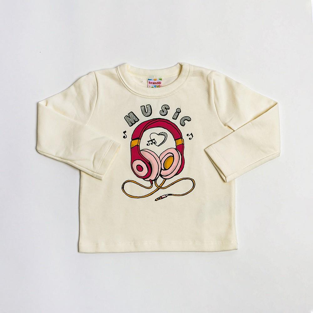 Blusa De Moletom Infantil Menina Creme Estampada - Brandili