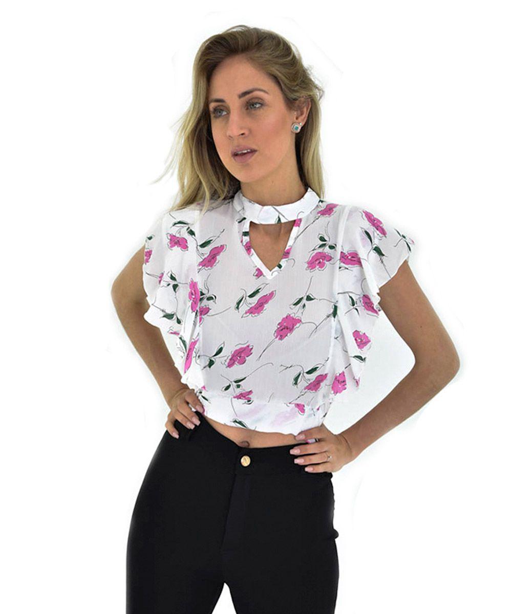 346b1c9340375 Blusa Cropped Com Estampa Sem Mangas Fruvia Fashion Feminino - Branco