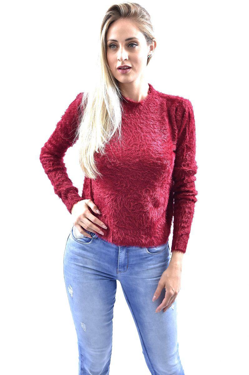 458b5adce Blusa De Pelinho Manga Longa Gola Alta Chic Coral Feminino - Vermelho