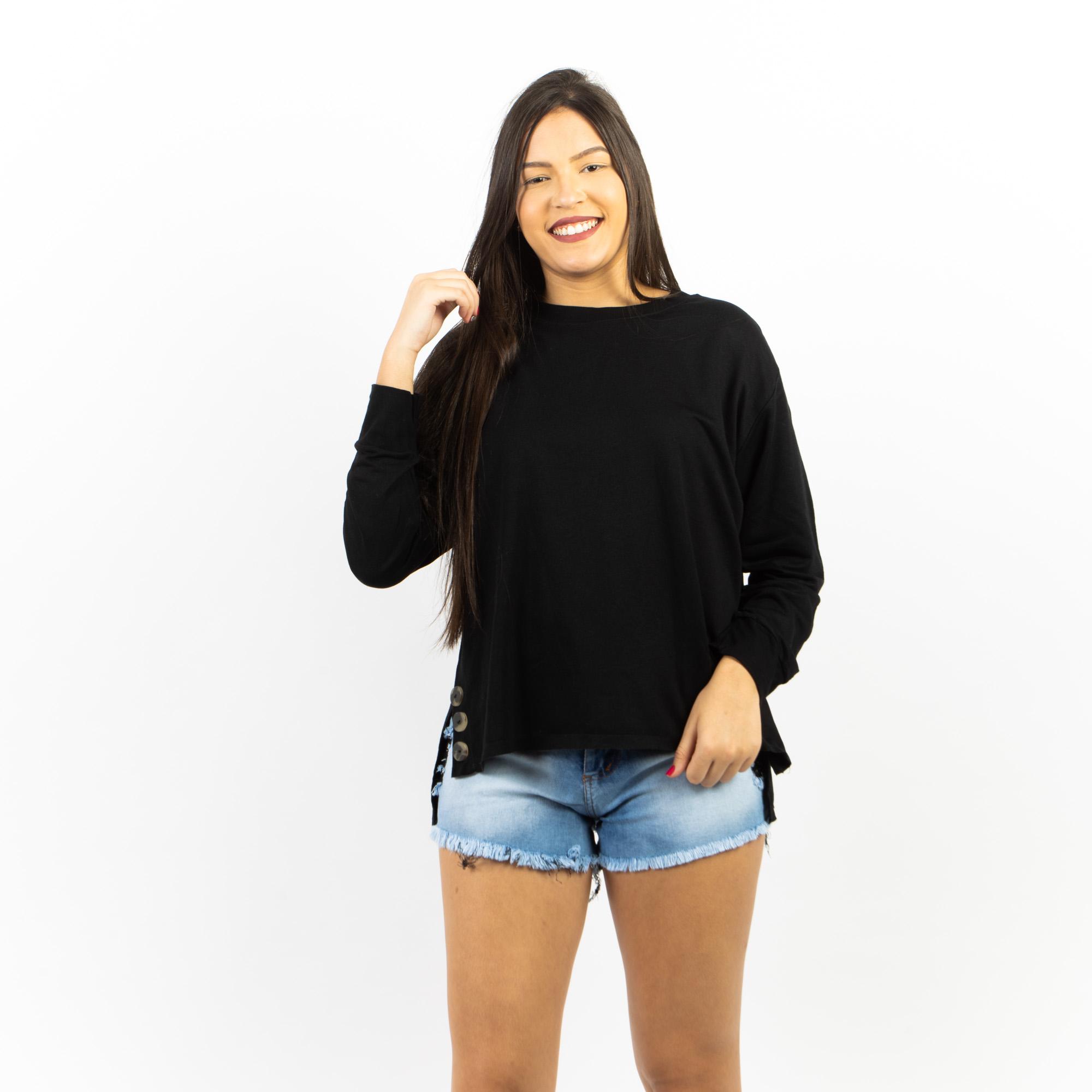 Blusa Mullet Com Detalhe De Botão