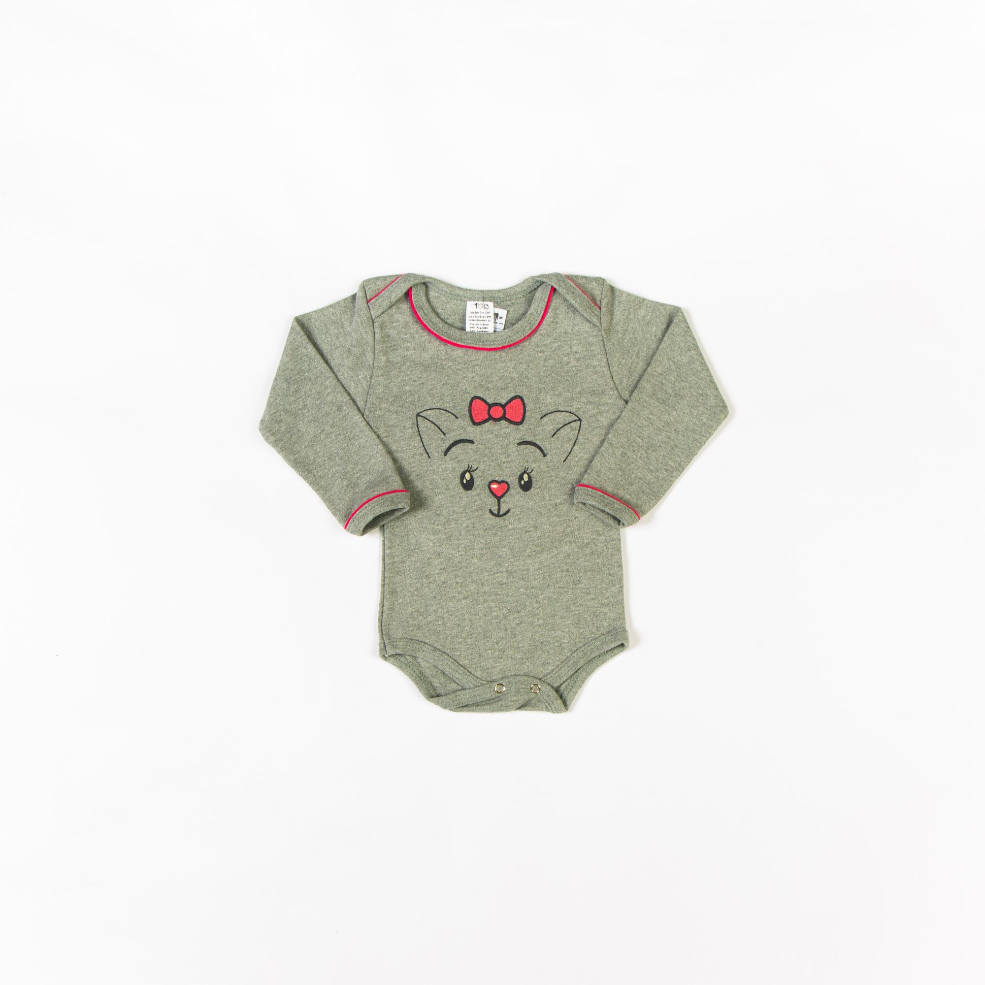 Body Bebê Manga Longa Bordado