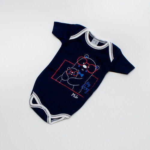 Body De Bebê Bichinho Manga Curta Azul Mub