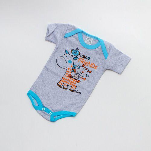 Body De Bebê Bichinhos Manga Curta Cinza Mub