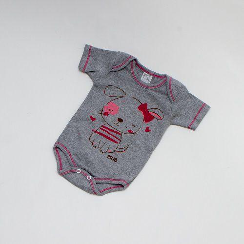 Body De Bebê Cachorrinho Manga Curta Cinza Mub