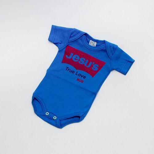 Body De Bebê Frase Manga Curta Azul Mub