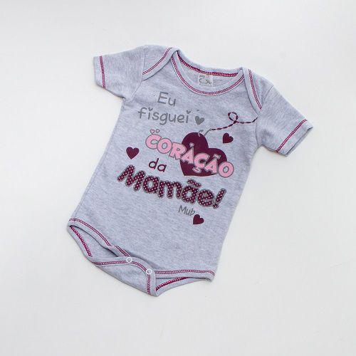 Body De Bebê Frase Manga Curta Cinza Mub
