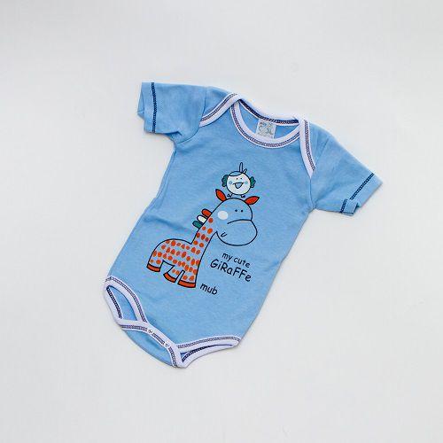 Body De Bebê Girafa Manga Curta Azul Mub