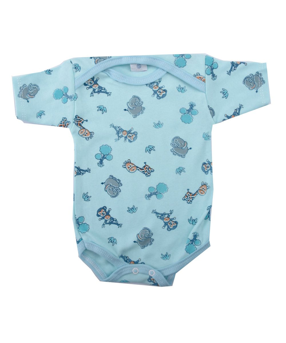 d1f0614b9876 Body de Bebê Manga Curta Estampa Animais Safari Luizinho Baby