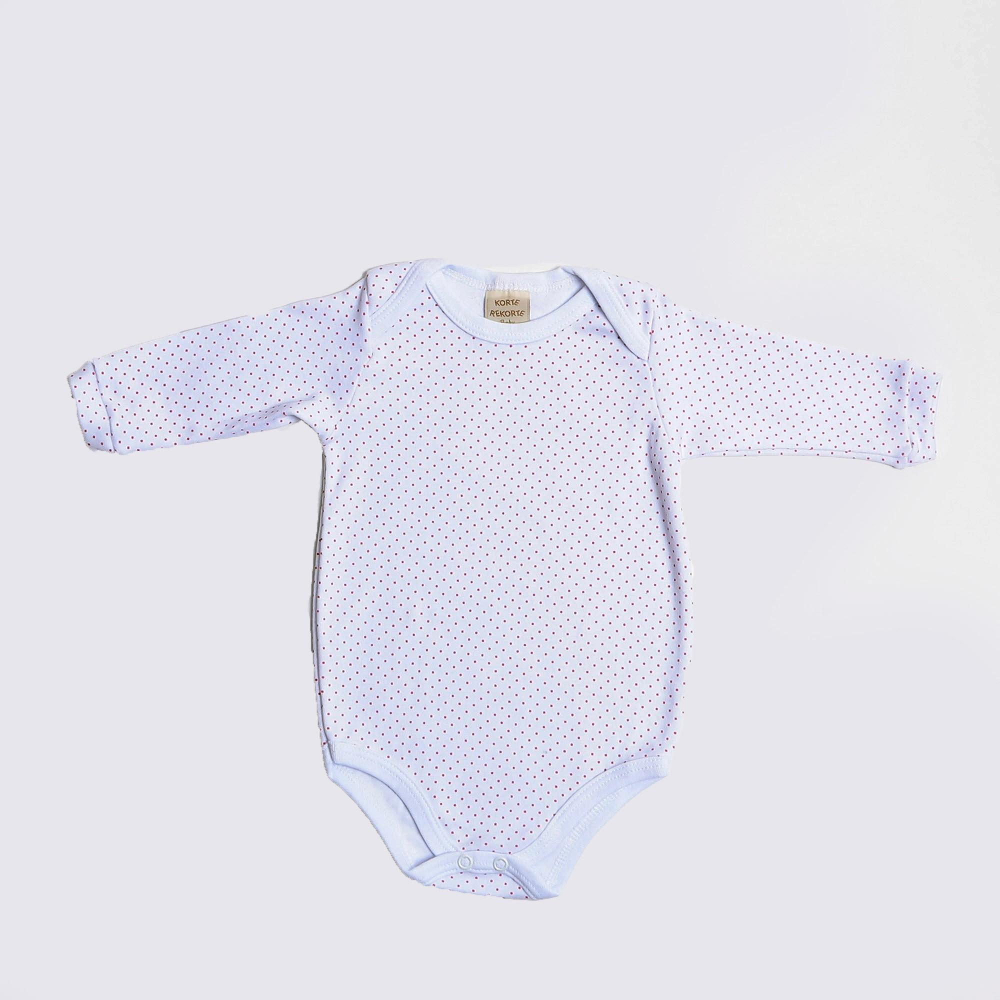Body De Bebê Manga Longa Branco Com Poá - Korte Rekorte