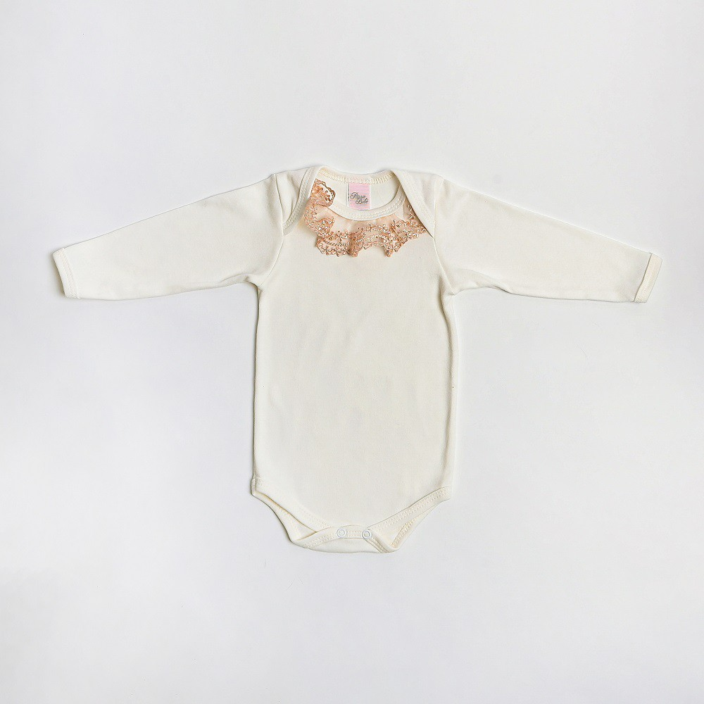 Body De Bebê Manga Longa Com Detalhe Renda - Le&Ma