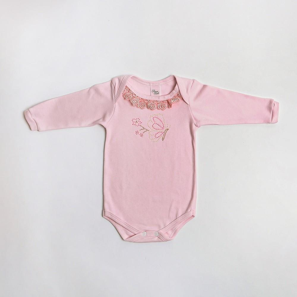 Body De Bebê Manga Longa Com Renda E Pedrinhas - Rosa Bebê