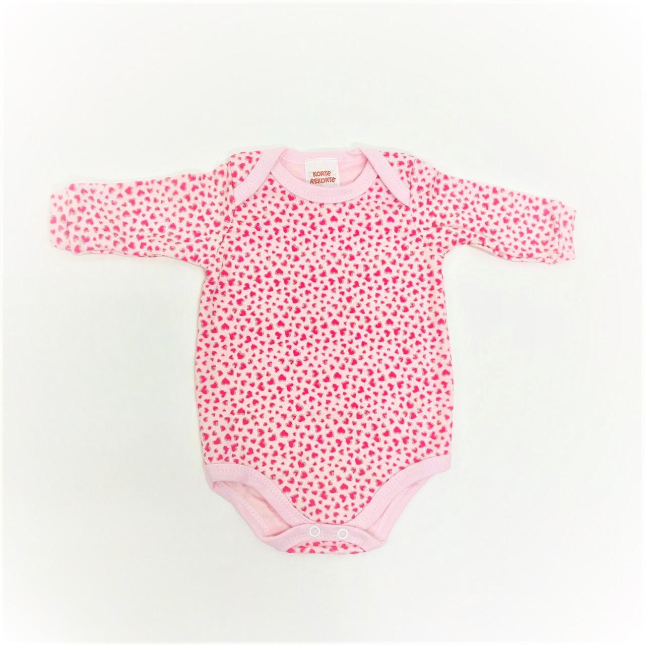 Body De Bebê Manga Longa Coraçãozinho Rosa - Korte Rekorte
