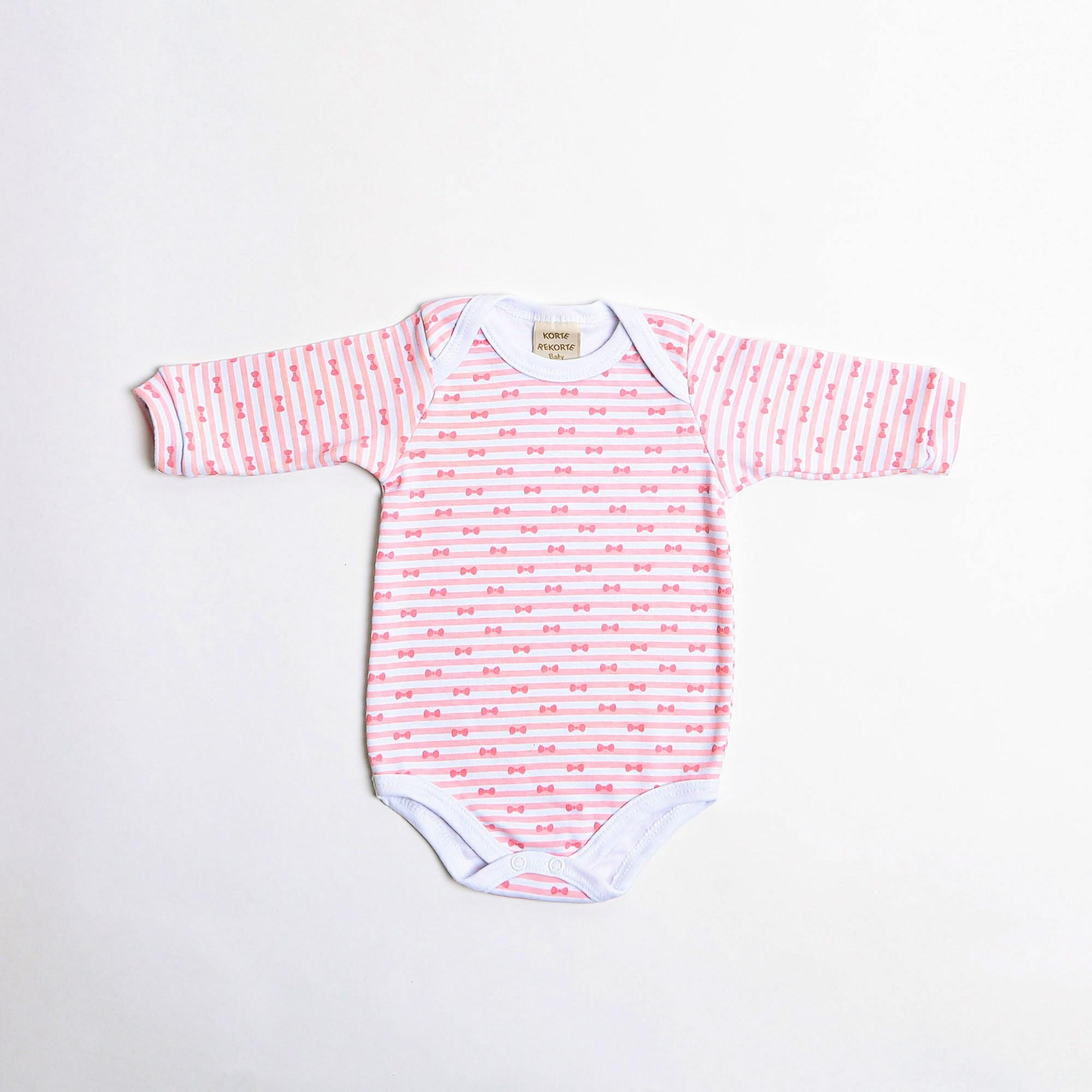 Body De Bebê Manga Longa Estampa Lacinhos Com Listra - Korte Rekorte