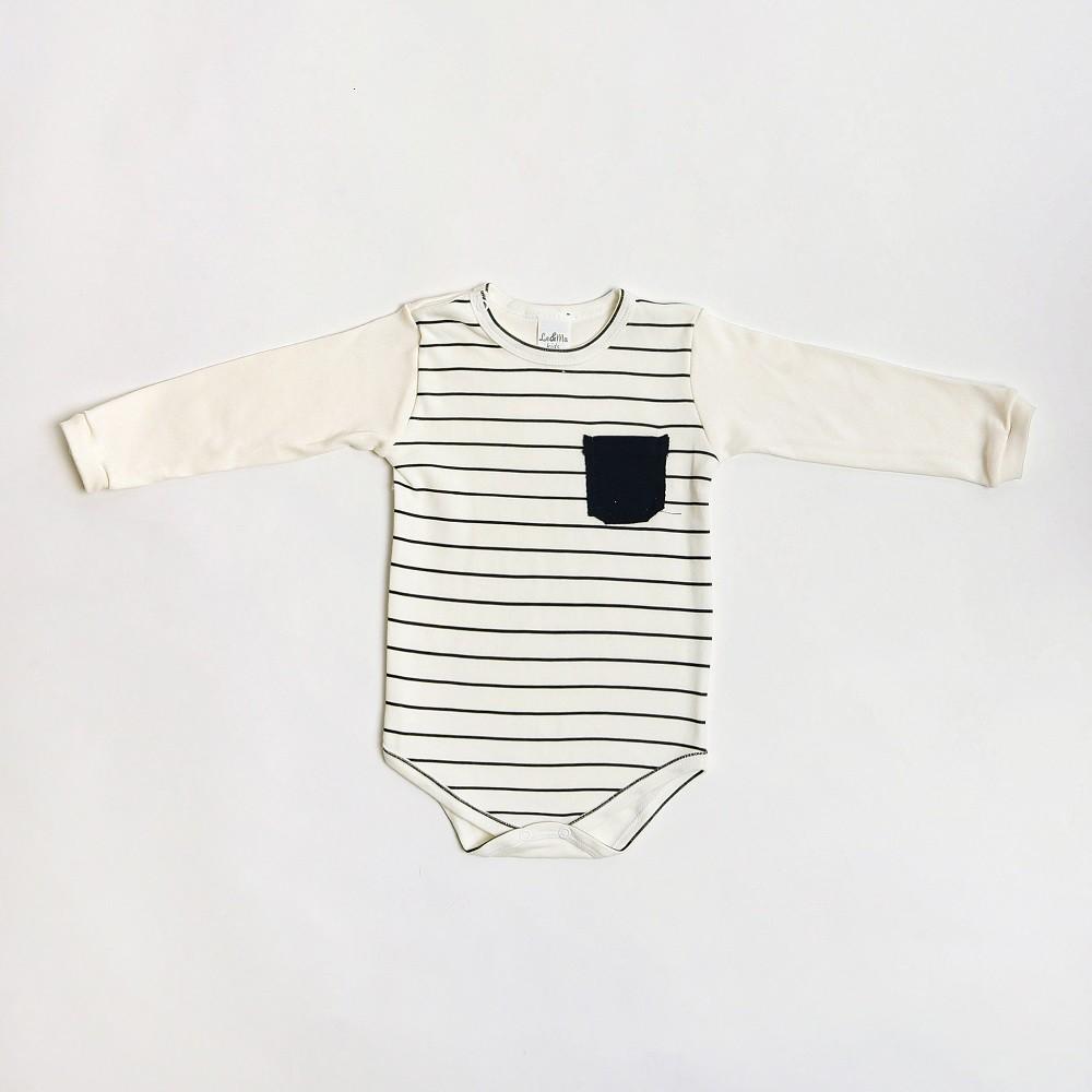 Body De Bebê Manga Longa Listrado Com Bolsinho 1/3 - Le&Ma