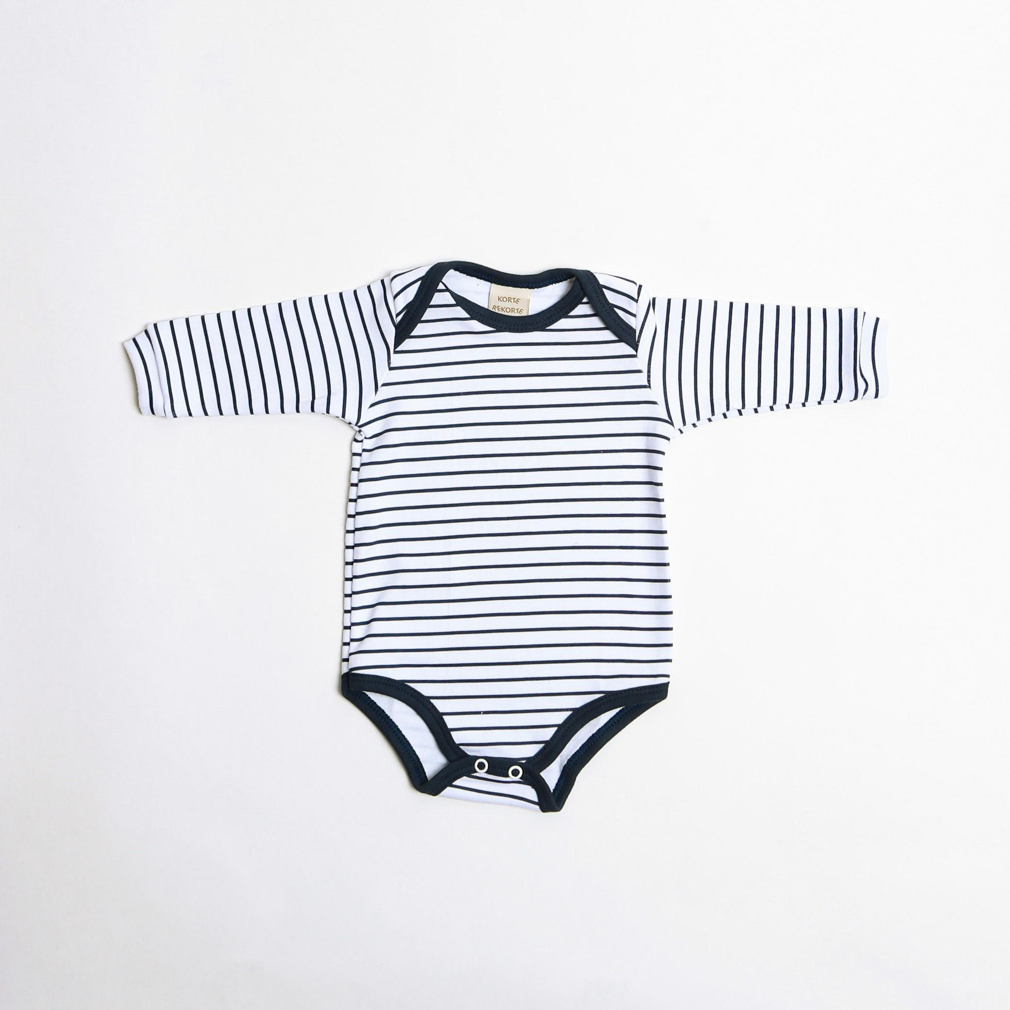 Body De Bebê Manga Longa Listrado - Korte Rekorte