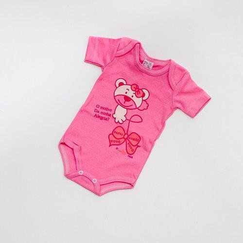 Body De Bebê Urso Manga Curta Rosa Mub