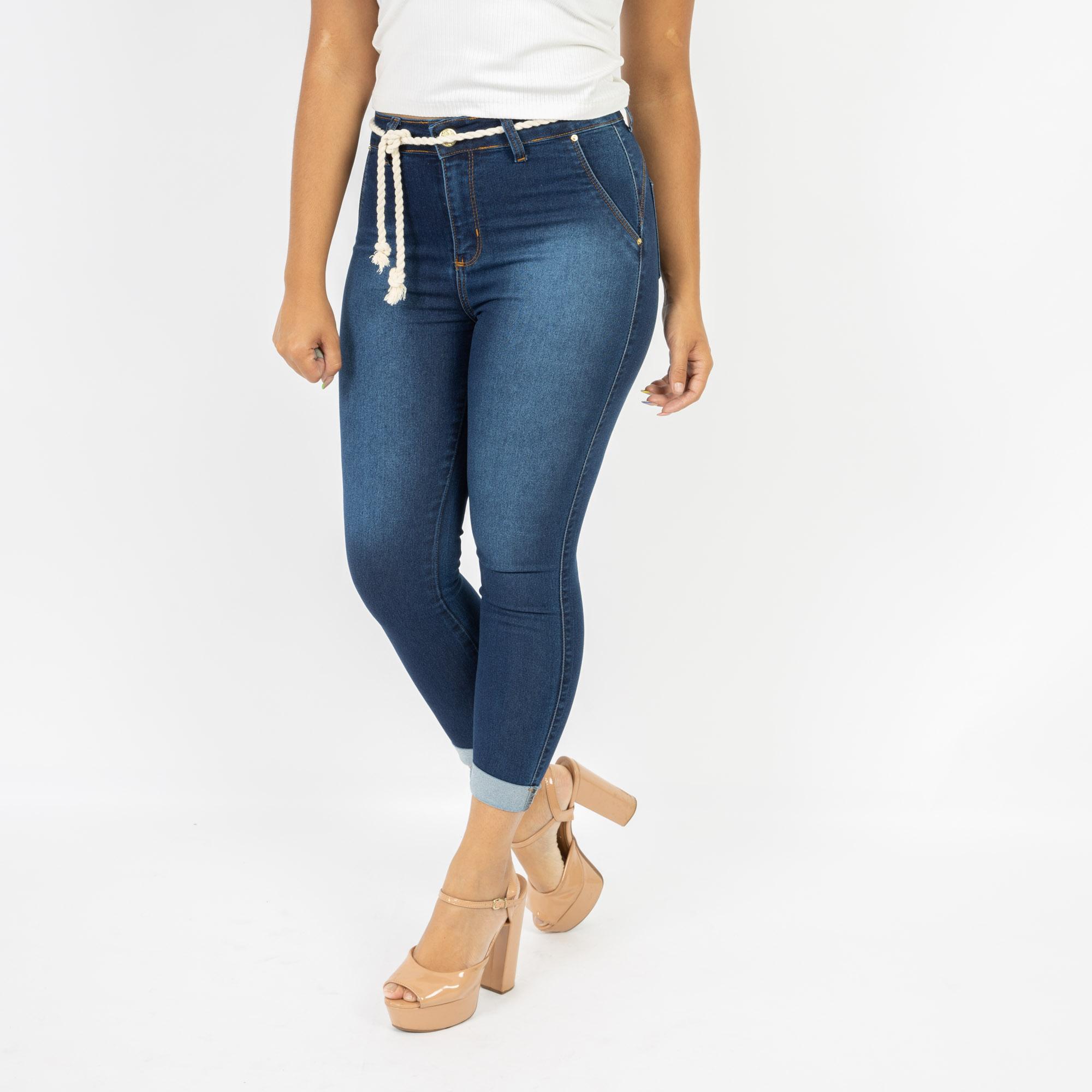 Calça Jeans Capri Com Cordão