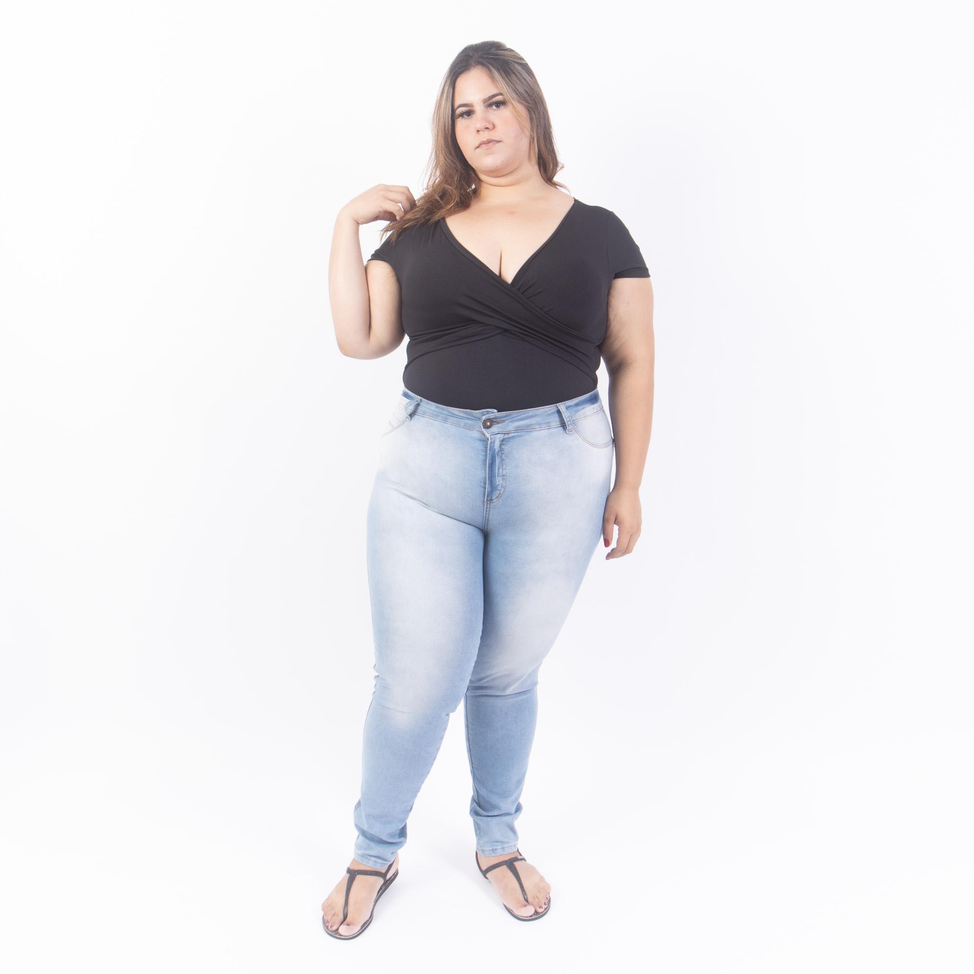 Calça Jeans Claro Skinny Plus Size