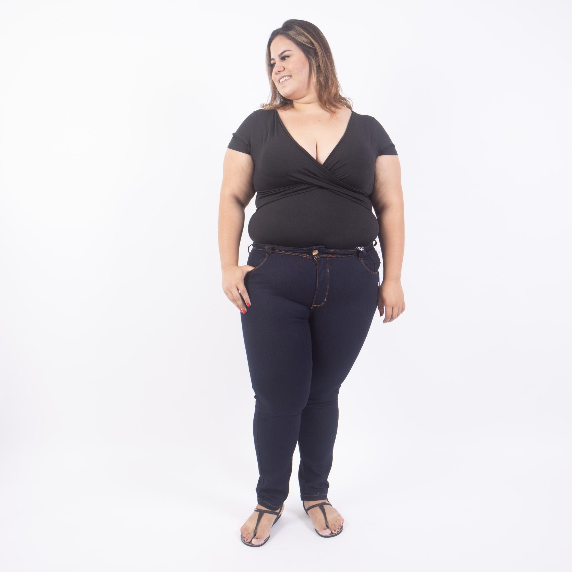 Calça Jeans Escuro Plus Size Cintura Alta